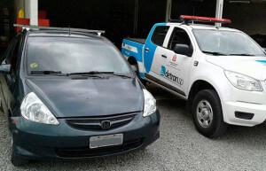 Honda Fit com débitos foi apreendido pelo Detran (Foto: Divulgação/Detran-SP)